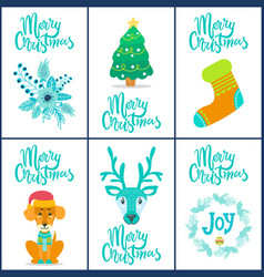 merry christmas flower tree vector image