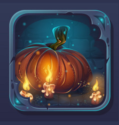 monster battle gui icon - pumpkin and candle vector image
