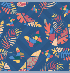 multicolor flat cut leaves butterflies seamless vector image