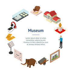 Museum exhibits galleries banner card circle vector