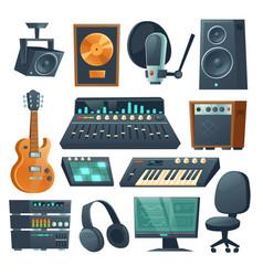 Music studio equipment for sound recording vector
