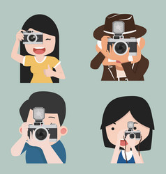 photographer taking photo in different poses vector image