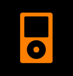 Portable music device orange icon on black vector
