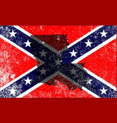 Rebel civil war flag with louisiana map vector