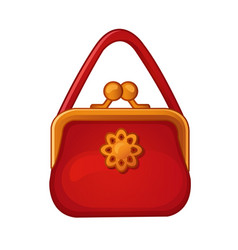 Red womens handbag with clasp isolated on a white vector