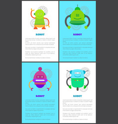 Robot collection of poster vector