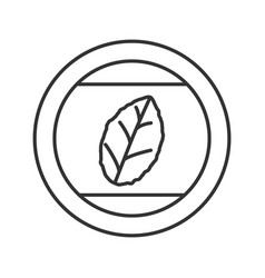 Round sticker with tobacco leaf linear icon vector