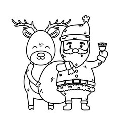 santa with bell and reindeer celebration merry vector image