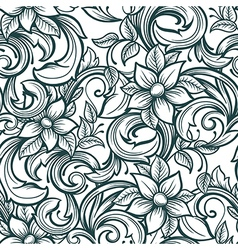 seamless floral hand draw pattern vector image