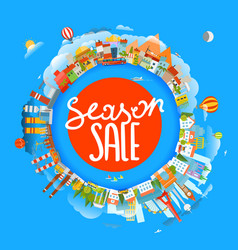 season sale concept the earth and different vector image