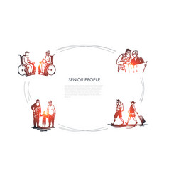 senior people - old people sitting on wheelchairs vector image
