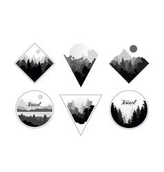 set monochrome landscapes in geometric shapes vector image