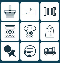 set of 9 e-commerce icons includes money transfer vector image
