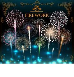 Set of fireworks festive banner vector