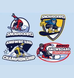 Set of snowboard badge design vector