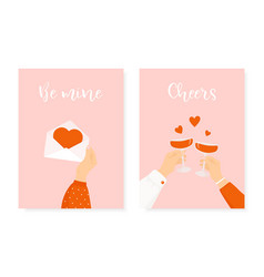 Set two happy st valentines day posters vector