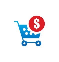 Shopping cart money buy logo vector