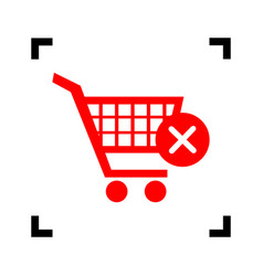 shopping cart with delete sign red icon vector image