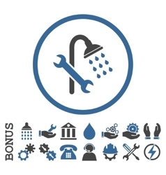 Shower Plumbing Flat Rounded Icon With vector image