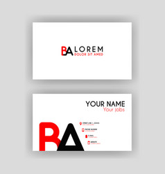 Simple business card with initial letter ba vector