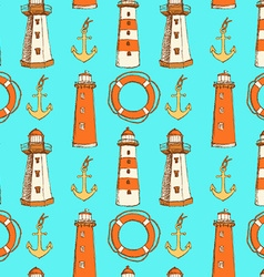 Sketch life bouy lighthouse and anchor in vintage vector image