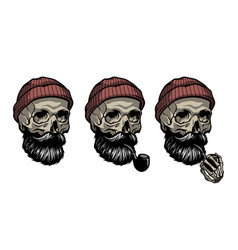 skull a sailor in a knitted hat vector image