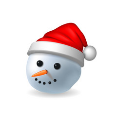 snowman face 3d realistic snowman head isolated vector image
