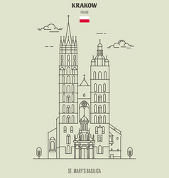 st marys basilica in krakow vector image