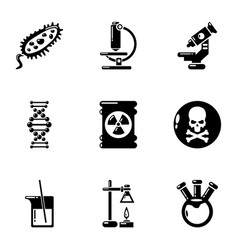 Study biochemistry icons set simple style vector