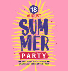 Summer beach party invitation or poster template vector