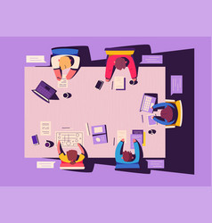 teamwork at smartphone desk coworking concept vector image