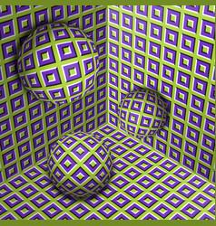 Three spheres move in corner optical illusion vector