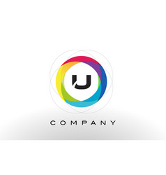 U letter logo with rainbow circle design vector