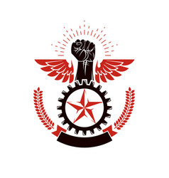 Winged clenched fist of angry man emblem power vector
