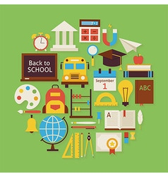 Back to School and Education Flat Design Circle vector image
