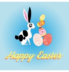 beautiful card with bunny for Easter vector image vector image