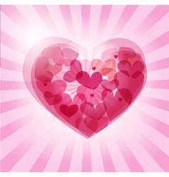 Cute background with vintage hearts vector image