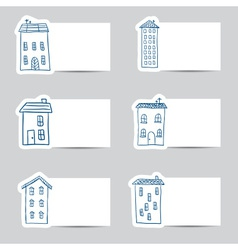 Houses doodles on small cards vector image vector image