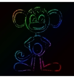 Monkey silhouette of lights vector image vector image