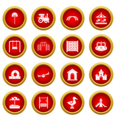 Playground icon red circle set vector