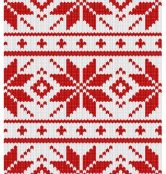 Skandinavian red knitted pattern vector image vector image