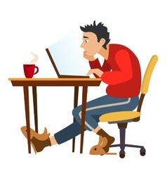 Unemployed man surfing the internet in search of vector image