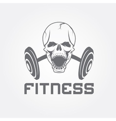 aggressive skull and barbell fitness emblem vector image