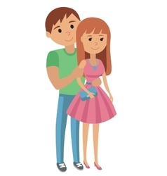 Couple younger man and woman hugging vector image vector image