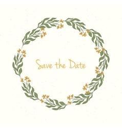 Hand drawn wreath invitation card vector