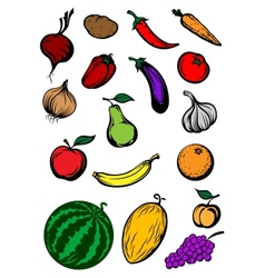 Organic ripe cartooned vegetables and fruits vector image
