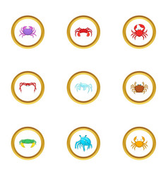 shellfish icons set cartoon style vector image vector image