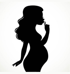 silhouette of beautiful young pregnant woman put a vector image vector image