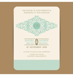wedding invitation with vintage element vector image