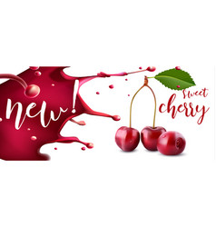 cherry juice fresh cherry fruit with juice splash vector image
